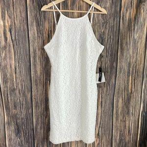 Lulus dress XL white lace overlay new sexy boho